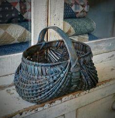Red Basket, Basket Bag, Basket Weaving, Hand Weaving, Painted Baskets, Bee Skep, Vintage Baskets, Primitive Gatherings, Still Life Art