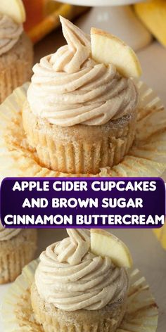 Moist and flavorful recipe for Apple Cider Cupcakes made from scratch with Brown Sugar Cinnamon Buttercream Frosting makes for a mouthwatering fall dessert! Frosting Recipes, Buttercream Frosting, Cupcake Recipes, Cookie Recipes, Cupcake Cakes, Just Desserts, Delicious Desserts, Yummy Food, Apple Recipes