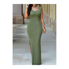 Rotita Side Slit Army Green Open Back Maxi Dress ($22) ❤ liked on Polyvore featuring dresses, army green, green dress, sleeve dress, print dress, olive dress and print maxi dress