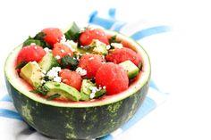 Watermelon Salad With Avocado, Feta & Mint - Walder Wellness, Dietitian Summer Salad Recipes, Healthy Salad Recipes, Summer Salads, Whole Food Recipes, Summer Bbq, Vegan Recipes, Healthy Homemade Pizza, Watermelon Bowl, Avocado Salad
