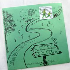 mail art envelope - path, sign, trees, bench, flowers and don't forget the little birdie on the sign Envelope Lettering, Envelope Art, Envelope Design, Mail Art Envelopes, Addressing Envelopes, Letter Art, Letter Writing, Pocket Letter, Blog Art