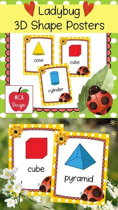 These colorful 3D shape posters are part of my Ladybug Classroom Decor collection. Each poster features various 3D shapes accented with bright colors and ladybug themed graphics! 3D Shape Posters Included: Pyramid Cube Cylinder Rectangular Prism Sphere Triangular Prism Hemisphere Octahedron #teacherspayteachers #tpt Classroom Board, Classroom Supplies, Classroom Posters, Classroom Decor, 2nd Grade Activities, Easel Activities, Triangular Prism, Shape Posters, 3d Shapes