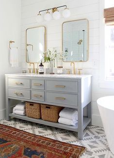 Modern Farmhouse, Rustic Modern, Classic, light and airy master bathroom design some ideas. Bathroom makeover suggestions and master bathroom renovation ideas. Double Sink Bathroom, Bathroom Grey, Bathroom Renos, Bathroom Interior, Remodel Bathroom, Bathroom Remodeling, Mirror Bathroom, Remodeling Ideas, Brass Bathroom Fixtures