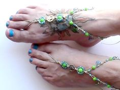 60e36ca7ea21 Barefoot Sandals Aqua Blue and Lime Green Hemp Beaded Peace Signs Peace  Signs