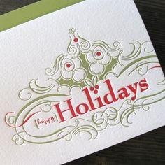 happy holidays holly letterpress card