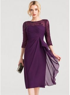 e9bd322a Sheath/Column Scoop Neck Knee-Length Chiffon Cocktail Dress With Lace  Sequins Cascading Ruffles (016150202)