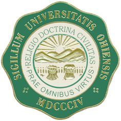 Even more than the official seal for the University of Virginia, which contains elements of that commonwealth's seal, the seal for Ohio University draws heavily from that state's seal. The eight-fold decorative border is a distinctive element, as well as the two high-minded religious mottos: Religio Doctrina Civilitas (Religion, Learning Civility); and Prae Omnibus Virtus (Above All, Virtue).