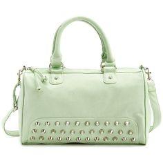 Vibrant Studded Satchel Bag ($29) ❤ liked on Polyvore