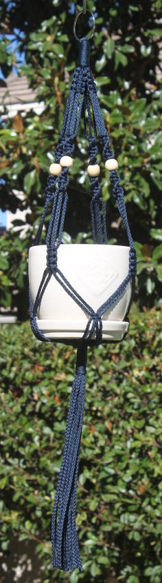 CROWNE ROYALE Small #Blue #Handmade #Macrame Plant Hanger By  #ChironCreations. #