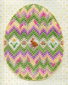 Canvas work: Bargello Egg from Laura J Perin Bargello Needlepoint, Needlepoint Stitches, Needlepoint Kits, Needlework, Hardanger Embroidery, Canvas Designs, Easter Baskets, Cross Stitch Patterns, Sewing Crafts