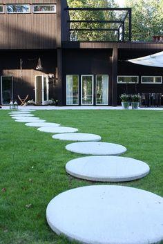 Modern concrete paver path