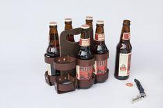 Leather 4-Pack Holder Beer Bottle Carrier Reusable Wood Masonite Walnut Studiolo