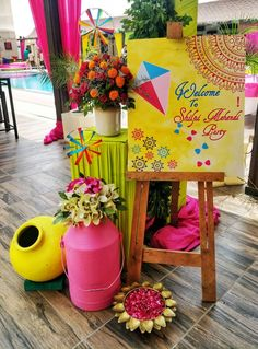 Photo From Poppin's : Colorpop Mehendi Theme - By Inch Perfecto Indian Wedding Theme, Desi Wedding Decor, Luxury Wedding Decor, Wedding Reception Backdrop, Wedding Stage Decorations, Backdrop Decorations, Flower Decorations, Backdrops, Wedding Ideas