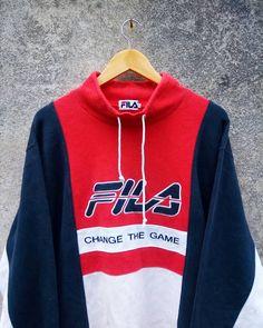 Vintage 90's Fila Half-Zipper Collar Sweatshirt Big Embroidery Spellout // Fila Sweatshirt 453cVc3Doh