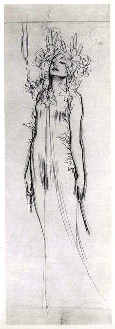 Woman with Lilies, charcoal by Alphonse Mucha. 1902 Woman with Lilies, charcoal by Alphonse Mucha. Figure Drawing, Painting & Drawing, Art Inspo, Drawing Sketches, Art Drawings, Drawing Ideas, Contour Drawings, Drawing Faces, Drawing Tips