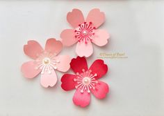 Cherry Blossoms Pearlescent Shimmer Paper Flowers, 24 pcs. for DIY Party Decor, Crafting, Spring Theme Party, Scrapbooking & Embellishment from TracesofPearl on Etsy Studio