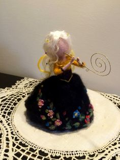 Needle felted Fairy Waldorf inspired Fairy with flute Black