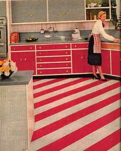 I love the floor in this retro 1950s kitchen, imagine how festive it would look at Christmas! Click the image to learn how to give your kitchen a mid century makeover! http://www.retrorealtygroup.com #retrokitchen