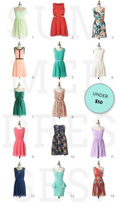 Summer Dress Round-Up (under $50!)  Read more - http://www.stylemepretty.com/living/2013/07/12/summer-dress-round-up-under-50/