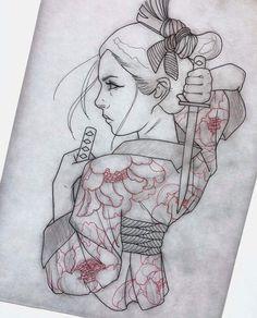 Japanese tattoo art image by Stuart Holderness on Tattoo Ideas Japan Tattoo, Tattoo Sketches, Tattoo Drawings, Body Art Tattoos, Sleeve Tattoos, Japanese Geisha Tattoo, Japanese Tattoo Designs, Japanese Tattoos, Arte Cholo