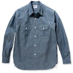 8HU HEAVY DUTY CHAMBRAY WORK SHIRT – The Real McCoy's Denim Button Up, Button Up Shirts, Chambray Fabric, Work Shirts, Light Blue, Winter, Clothing, Cotton, How To Wear