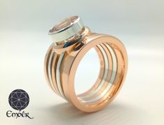 Morganite, Red gold, and silver ring. Bespoke Jewellery, Red Gold, Silver Rings, Wedding Rings, Engagement Rings, Handmade, Jewelry, Design, Enagement Rings