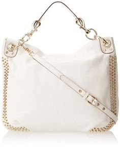 Rebecca Minkoff Mini Luscious Hobo with Studs Shoulder Bag White �