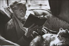 Reading: Elderly Woman with Cat Sitting in Her Lap - - Rights Managed - Stock Photo - Corbis. People Reading, Woman Reading, Love Reading, Cat Reading, Reading Books, I Love Books, Good Books, Books To Read, My Books