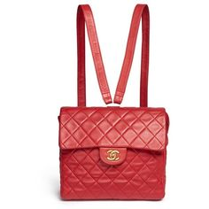 Vintage Chanel Quilted lambskin leather flap bag ($6,620) ❤ liked on Polyvore featuring bags, handbags, chanel, red, flap handbags, red quilted handbag, chanel purse, vintage handbags and red hand bags