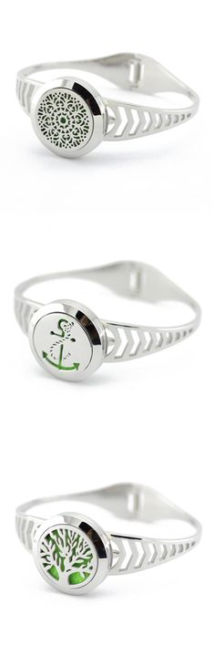 [Visit to Buy] 25mm Twisted-off Stainless Steel Silver Round Aromatherapy Essential Oil Diffusing locket Bangle Bracelet (free felt pads) #Advertisement