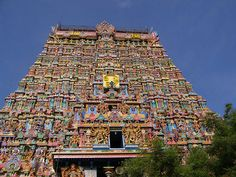 This is the front view of the east tower in the Swamy Sannithi of Sri Meenakshi Temple, India.