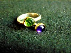 Silver and Gold Ring,Sterling Silver, 18k Gold, Amethyst and Peridot Ring,Gemstone Womens Ring,Rings for Women,Artisan Jewelry, Greek Art by ArchipelagosBreeze on Etsy