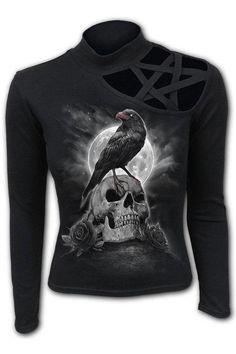 Grave Walker - Pentagram Sh... Gothic Tops, Single Duvet Cover, Gender Female, Black Pants, Crows, Shoulder, Sweatshirts, Long Sleeve, Sleeves