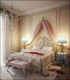 Romantic bedroom with silk and satin bed sheets with Extravagant Romantic Pink White Themed Bedroom Interior Design, with White pictures Antique White Table Lamps: Feature Wall Bedrooms Ideas