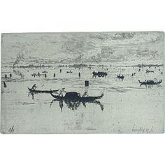 19th Century Etching of Otto Bacher of the Laguna Veneta