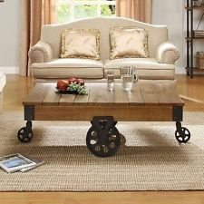 Rustic Coffee Table On Wheels Industrial Weathered Style Metal Wood Country west