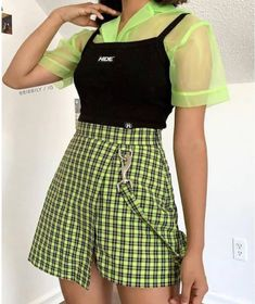 Image may contain: one or more people and people standing Edgy Outfits image people stan standing Indie Outfits, Edgy Outfits, Teen Fashion Outfits, Retro Outfits, Cute Casual Outfits, Vintage Outfits, Girl Outfits, Fashion Hair, Green Outfits