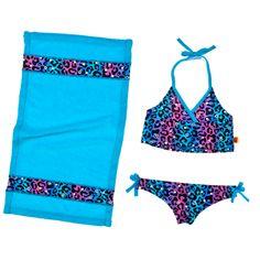 Colorful Cheetah Print Tankini & Towel 3 pc. - Build-A-Bear Workshop US