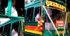 'മാസ്' പ്രകടനവുമായി പി.സി. ജോർജ്; ബസ് ഓടിച്ച് റോഡ് ഉദ്ഘാടനം