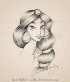 Jasmine Portrait BnW by *moonchildinthesky on deviantART