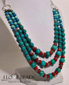 Turquoise necklace- coral necklace- turquoise multi strand necklace- turquoise necklaces- boho necklaces-blue and red necklace- turquoise
