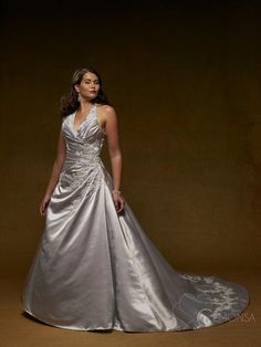 Empire Halter Cathedral Train Sleeveless Satin Silver Wedding Dress with Embroidery (EWG7708)