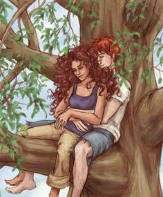 Up a Tree - Romione Fan Art Harry Potter Mode Harry Potter, Harry Potter Ships, Harry Potter Universal, Harry Potter World, Drawings Of Love Couples, Couple Drawings, Love Drawings, Fred And Hermione, Harry And Ginny