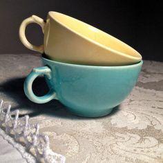Vintage Paden City China Caliente Teacups Paden City Caliente turquoise teacups vintage china pottery treland epsteam blue cups lemon yellow vvixens 8.00 USD #goriani