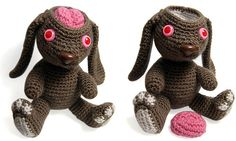 """Test Lab Bunny Amigurumi by Andricongirl. She says he's """"a poor bunny who was saved from a science lab, his brain sometimes pops right out of his head."""""""