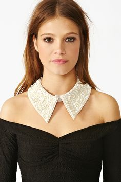 Sequin Collar - Ivory in Accessories at Nasty Gal