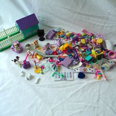 HUGE Lot Littlest Pet Shop Polly Pocket Dogs House Accessories Clothes Food Doll #Kenner