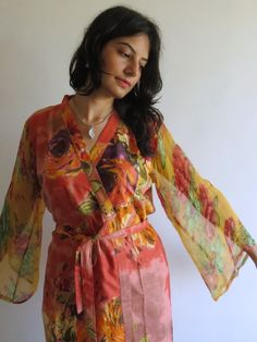 Robe with floral chiffon sleeves made from D14 Fabric Pattern