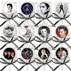 Elvis Presley Lollipops w/ Black Bows Party Favors King of Rock and Roll (12)