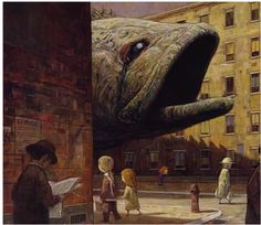 """The book """"Tales from outer Suburbia"""" by Shaun Tan, has achieved a powerful sequence by using consistent colour schemes to evoke a single emotion and mood throughout the whole novel. The colour scheme and even the way the imagery has been drawn with a texturised surface evoke the idea of irony and paradox within a suburban area."""
